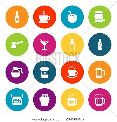 Collection Of Mug, Cognac, Martini And Other Elements.  Set Of 16 Beverages Icons Set.