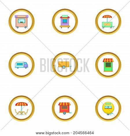 Street kiosk icons set. Cartoon style set of 9 street kiosk vector icons for web design