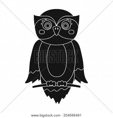 Owl, single icon in black style.Owl, vector symbol stock illustration .