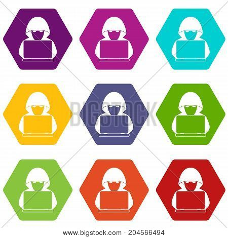 Computer hacker with laptop icon set many color hexahedron isolated on white vector illustration