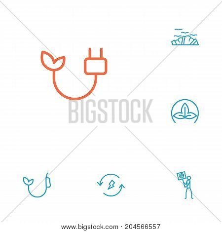 Collection Of Eco, Electricity, Renewable Energy And Other Elements.  Set Of 6 Atmosphere Outline Icons Set.