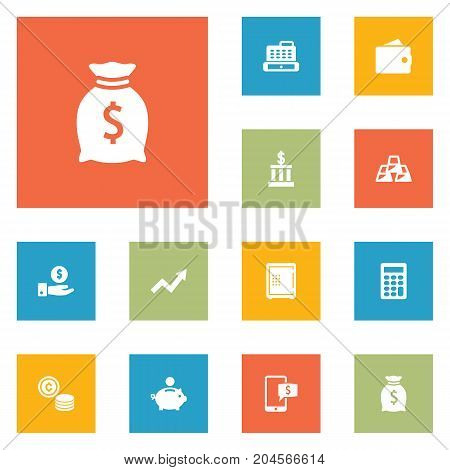 Collection Of Grown, Online Banking, Cashbox And Other Elements.  Set Of 12 Budget Icons Set.