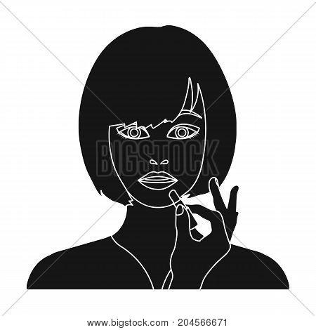Girl, single icon in black style.Girl vector symbol stock illustration .