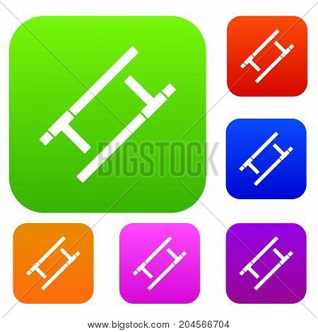 Tonfa set icon color in flat style isolated on white. Collection sings vector illustration
