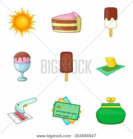 New candy shop icon set. Cartoon set of 9 new candy shop vector icons for web design isolated on white background