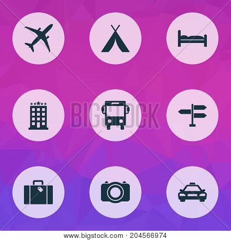 Traveling Icons Set. Collection Of Car, Bag, Booth And Other Elements