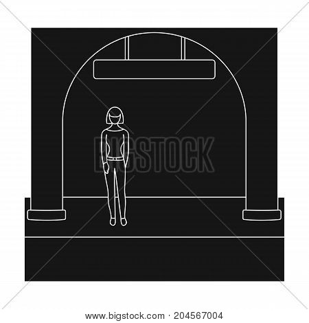 Apron, single icon in black style.Apron, vector symbol stock illustration .