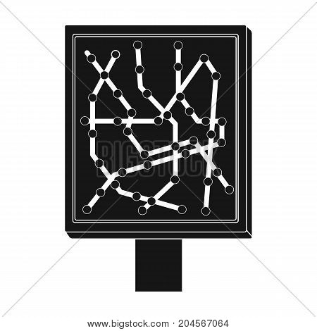 Map, single icon in black style.Map, vector symbol stock illustration .