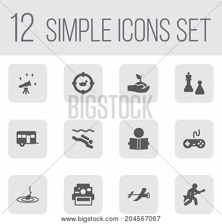 Collection Of Checkmate, Target, Telescope And Other Elements.  Set Of 12 Hobbie Icons Set.