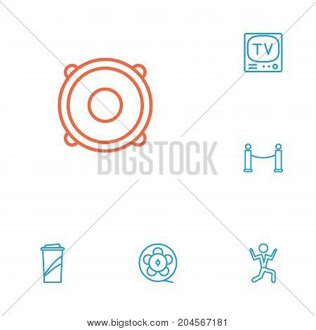 Collection Of Barrier Rope, Tv Set, Dancing Man And Other Elements.  Set Of 6 Entertainment Outline Icons Set.