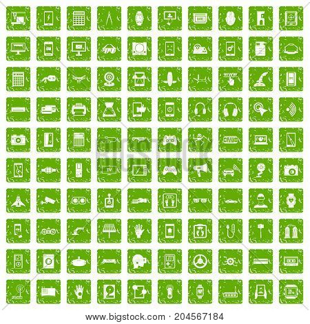 100 adjustment icons set in grunge style green color isolated on white background vector illustration