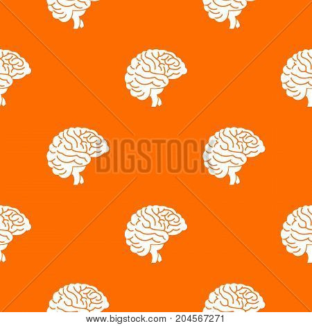 Brain pattern repeat seamless in orange color for any design. Vector geometric illustration