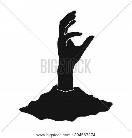 Hand, single icon in black style.Hand, vector symbol stock illustration .