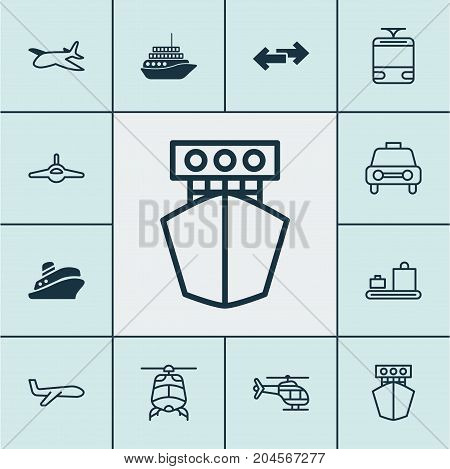 Shipping Icons Set. Collection Of Plane, Taxi, Streetcar And Other Elements