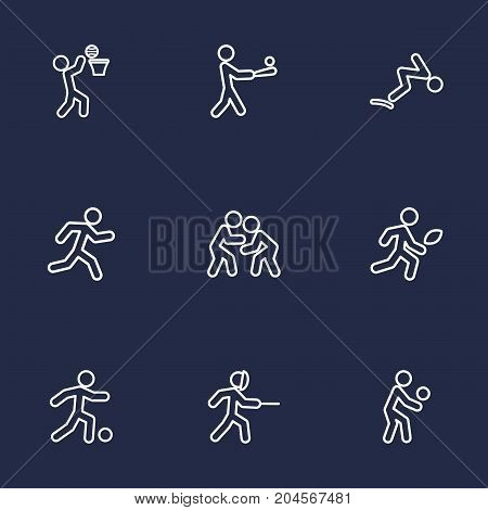 Collection Of Soccer, Fight, Swordplay And Other Elements.  Set Of 9 Sport Outline Icons Set.