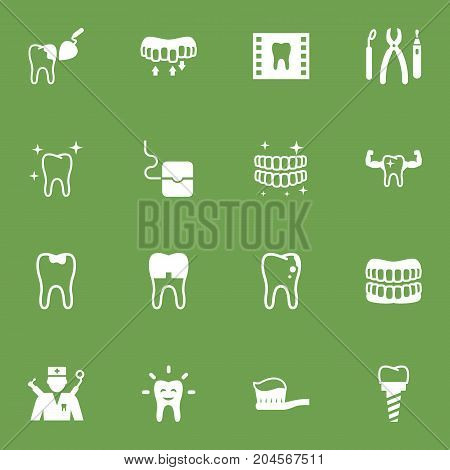 Collection Of Halitosis, Tooth, Brace And Other Elements.  Set Of 16 Dentist Icons Set.