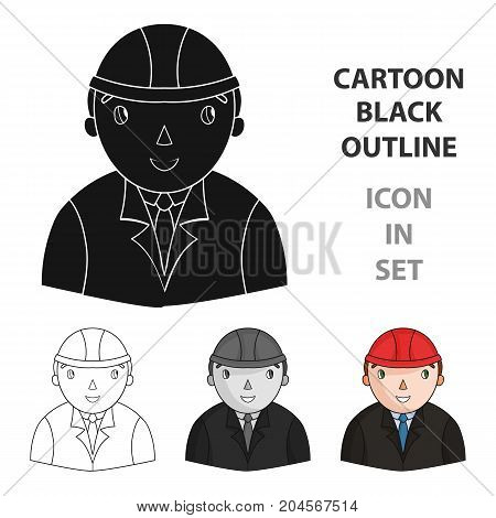 Architect icon in cartoon design isolated on white background. Architect symbol stock vector illustration.
