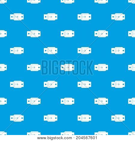Metal belt buckle pattern repeat seamless in blue color for any design. Vector geometric illustration