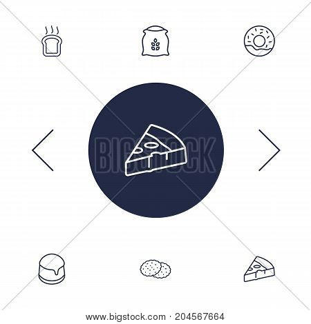 Collection Of Pudding, Donuts, Toast And Other Elements.  Set Of 6 Cooking Outline Icons Set.