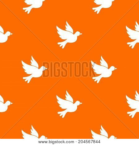 Dove pattern repeat seamless in orange color for any design. Vector geometric illustration