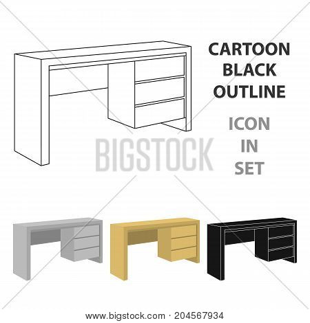 A small table for writing.Wooden table on legs with drawers.Bedroom furniture single icon in cartoon style vector symbol stock web illustration.