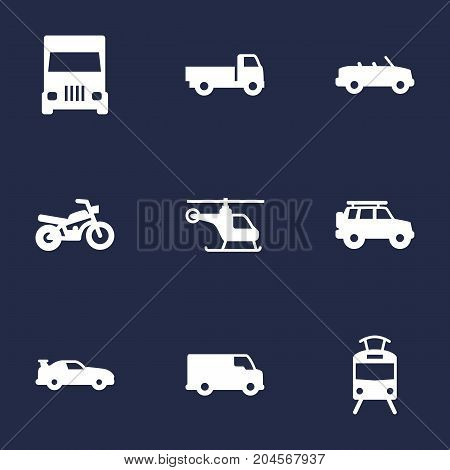 Collection Of Copter, Lorry, Motorbike And Other Elements.  Set Of 9 Transport Icons Set.