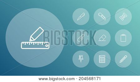 Collection Of Clipboard, Eraser, Pushpin And Other Elements.  Set Of 10 Tools Outline Icons Set.