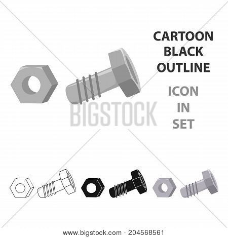 Structural bolt and hex nut icon in cartoon style isolated on white background. Build and repair symbol vector illustration.