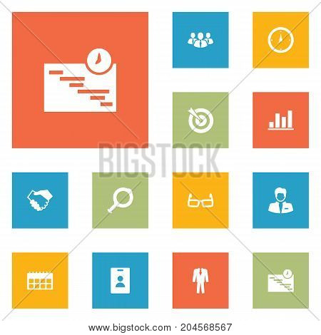 Collection Of Worker, Diagram, Partnership And Other Elements.  Set Of 12 Management Icons Set.