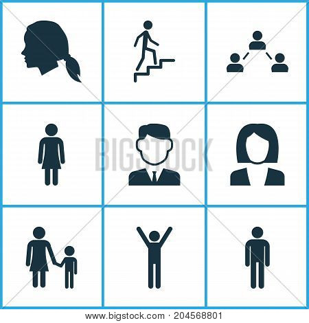 Person Icons Set. Collection Of Work Man, Ladder, Network And Other Elements