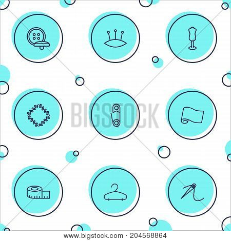 Collection Of Buttons, Dummy, Safety Pin And Other Elements.  Set Of 9 Stitch Outline Icons Set.