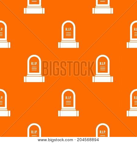Headstone pattern repeat seamless in orange color for any design. Vector geometric illustration