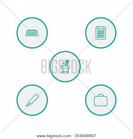 Collection Of Calendar, Calculator, Marker And Other Elements.  Set Of 5 Bureau Outline Icons Set.
