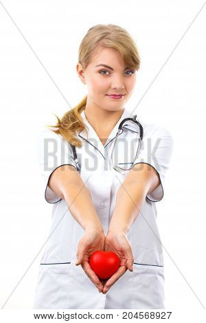 Woman Doctor With Stethoscope Holding Red Heart, Health Care Concept