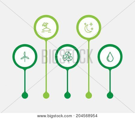 Collection Of Recycle, Moon With Star, Electric Mill And Other Elements.  Set Of 5 Bio Outline Icons Set.