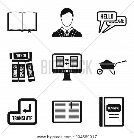 Translation book icons set. Simple set of 9 translation book vector icons for web isolated on white background