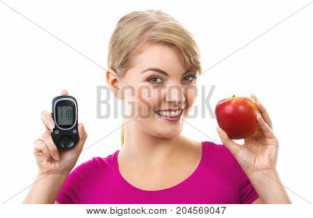 Happy Woman Holding Glucose Meter And Fresh Apple, Measuring And Checking Sugar Level Concept