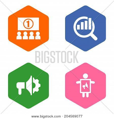 Collection Of Market, Man With Banner, Auditorium And Other Elements.  Set Of 4 Commercial Icons Set.