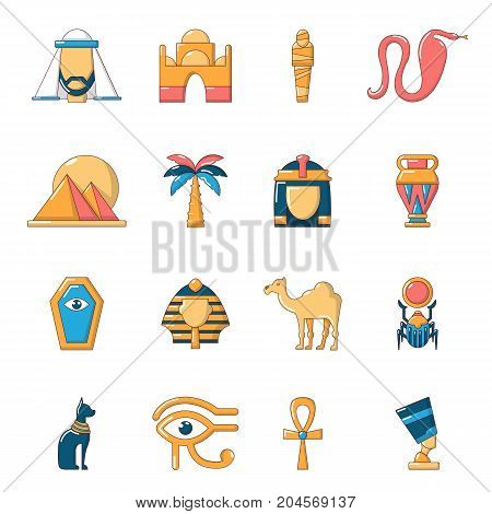 Egypt travel icons set. Cartoon illustration of 16 Egypt travel vector icons for web