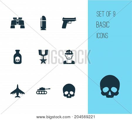 Warfare Icons Set. Collection Of Aircraft, Panzer, Cranium And Other Elements