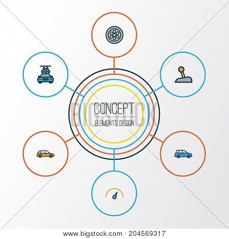 Car Colorful Outline Icons Set. Collection Of Drive, Sedan, Speed And Other Elements