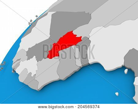 Map Of Burkina Faso In Red