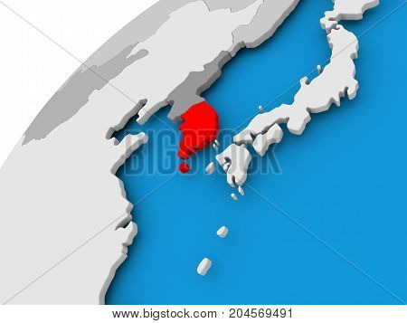 Map Of South Korea In Red