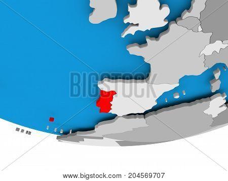 Portugal On Globe