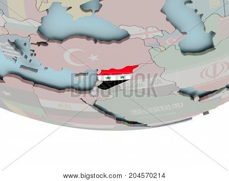 Syria With Flag On Globe
