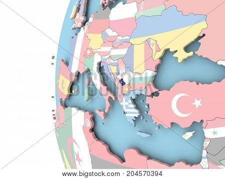 Kosovo on political globe with flag. 3D illustration. poster