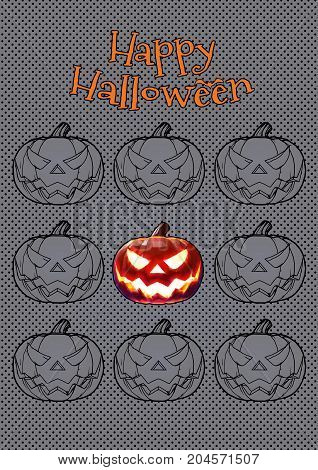 Jack o lantern in scary expression tile for halloween decoration in pop art style