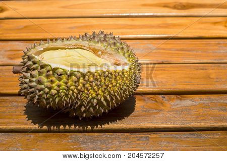 Cutting Durian King Of Fruit Show Inside Skin For Surve