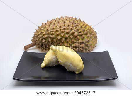 Durian King Of Fruit On Black Ceramic Plate