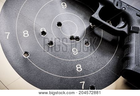 Goal setting with target, objectives and planning concept, top view, You can make a great target of business like a bullet target, gun and bullet holes on paper target